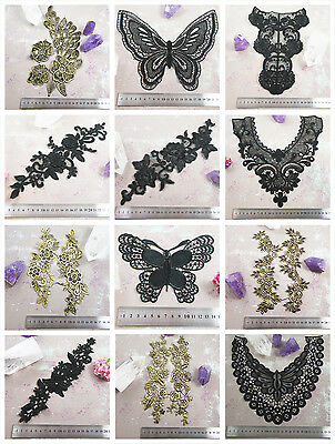 BLACK Or GOLD LACE APPLIQUES & COLLARS *59 DESIGNS* SEWING HABERSDASHERY SEW ON • 1.69£