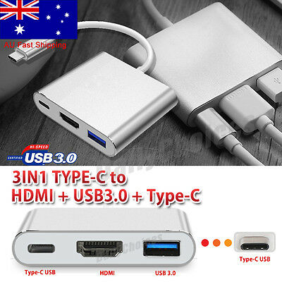 AU11.85 • Buy Type C To USB-C HDMI USB 3.0 Adapter Converter Cable 3 In 1 Hub For MacBook AIR