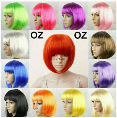 AU9.50 • Buy Womens Short Straight BOB Sleek Hair With Bang Synthetic Cosplay Wig Wigs Party