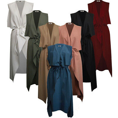 £8.99 • Buy Womens Ladies Maxi SLEEVELESS Waterfall Belted Duster Coat/ Jacket ••