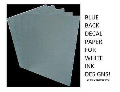 BLUE BACK Water Slide Decal Paper A4 - INKJET - LASER - 5 Pack Sizes • 2.49£