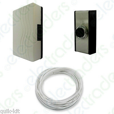 Door Chime With Built In Transformer + Bell Push (Chrome / Black) + Wire Kit • 24.50£