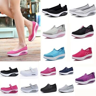 Womens Breathable Sneakers Low Top Walking Athletic Trainers Slip-On Sport Shoes • 13.99£