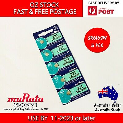 AU8.95 • Buy 5x MURATA (SONY) SR616SW 321 1.55v Button Coin Cell Silver Oxide Battery Watch