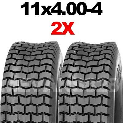 PAIR 11x4.00-4  4 PLY TURF LAWN MOWER GOLF BUGGY TYRE 11x400-4 RIDE ON TRACTOR • 26.99£