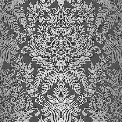 Crown Signature Black Silver Damask Metallic Feature Designer Wallpaper M1065 • 8.75£