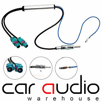 VW Volkswagen Dual Twin Fakra Car Stereo Booster Aerial Antenna Adapter CT27AA25 • 14.95£