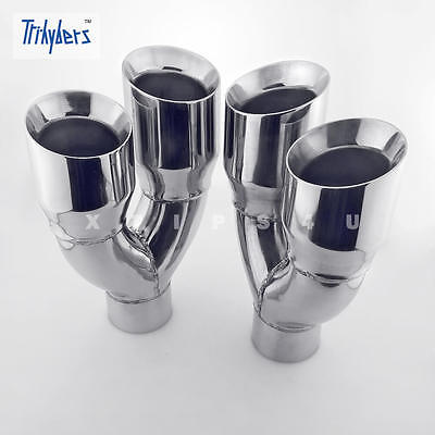 $ CDN245.56 • Buy Pair Quad Out 3  In Dual 4  Out 11.8 Long Dual Wall Stainless Steel Exhaust Tips