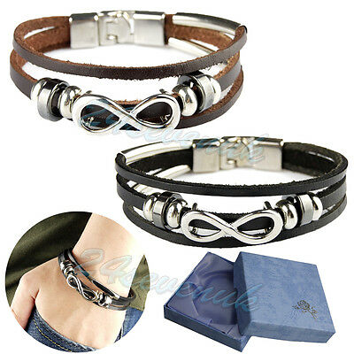 Men Ladies Genuine Leather Bracelet Infinity Braided Wristband Clasp Black/Brown • 3.59£