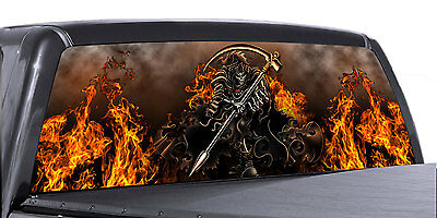 -SILVER FLAMES VuScapes Truck Rear Window Graphic 4 SIZES AVIAL