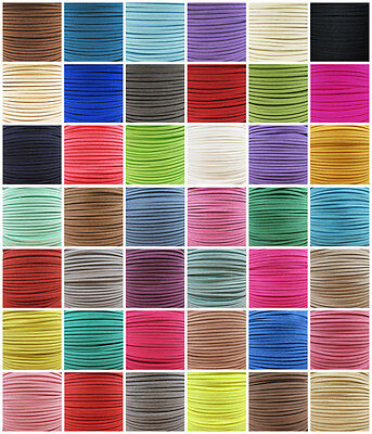 £2.29 • Buy 3mm FAUX SUEDE FLAT LEATHER CORD '45 COLOURS' JEWELLERY MAKING  STRINGING CRAFT