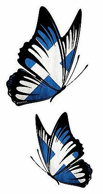 PAIR Of Butterflies Design With Scottish Saltire Scotland Flag Vinyl Car Sticker • 4.69£