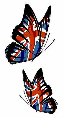 £4.69 • Buy PAIR Of Butterflies Design With Union Jack British Flag Vinyl Car Sticker Decal