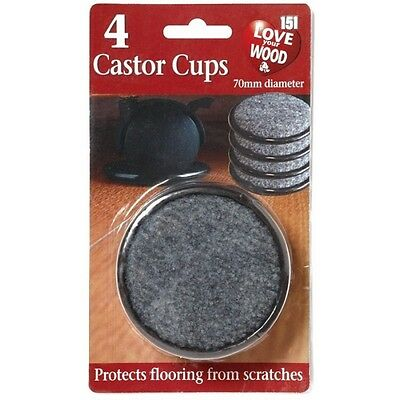 8x CASTOR CUPS Black Padded Scratch Resistant Floor Furniture Chair 2 PACKS OF 4 • 4.95£