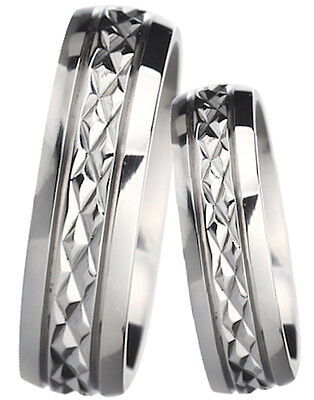 New His And Hers Diamond Cut Titanium Wedding Engagement Ring Set  • 49.99£