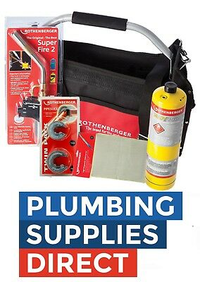 £110.99 • Buy Rothenberger Plumbers Tool Bag Superfire Torch, Mapp, Mat, 15 / 22 Pipe Cutters