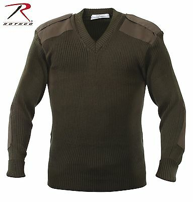 $37.99 • Buy Military Army Od Green V-neck Sweater Nato Style Acrylic Rothco All Size S To 2x