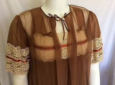 8aed60e55 Vintage Peignoir Lingerie Set By Tosca Sheer Brown Lace Nightgown And Robe  Sm • 75.66