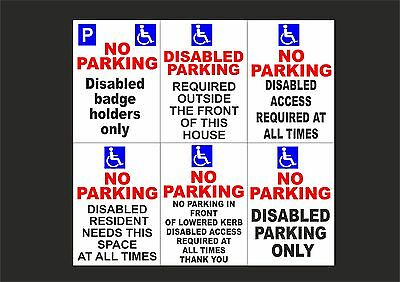 £5.99 • Buy DISABLED PARKING BADGE / ACCESS A3 Plastic Or Dibond Sign Or Sticker - 6 Designs