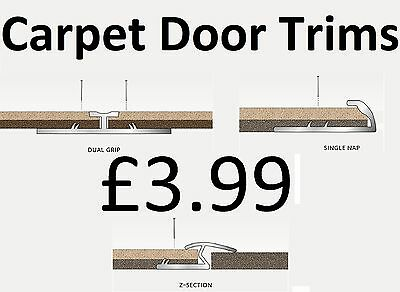 Carpet Metal Trims - Door Bars Strips - Threshold Plates - Gold Or Silver • 3.99£