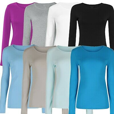 £4.99 • Buy Marks & Spencer Womens Pure Cotton Long Sleeve Crew Neck New M&S T Shirt Top Tee