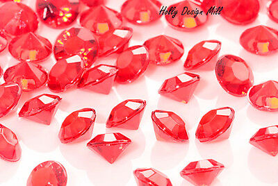 6mm Red Diamante Crystals Wedding Engagement Party Table Confetti Decoration • 1.99£