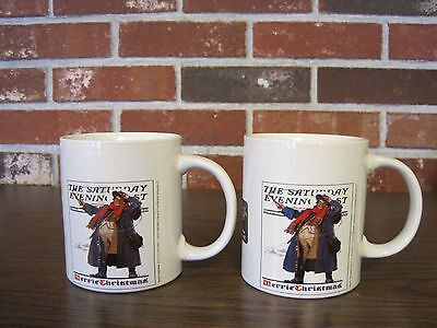 $ CDN17.62 • Buy 2005 Norman Rockwell The Saturday Evening Post 2 Merrie Christmas Cups / Mugs