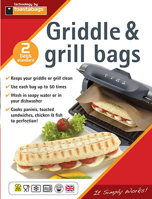 Panini Grill  & Griddle Bags - GEORGE FOREMAN, TOASTIES - PGB2PP 2 BAGS INCLUDED • 2.25£