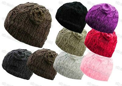 £3.85 • Buy Ladies Beanie Hat Chunky Cable Knit With Crochet Flower Warm Winter Knitted Cap