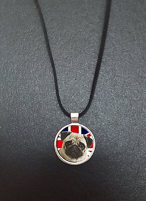 £5.95 • Buy Pug Union Jack Pendant On A 18  Black Cord Necklace Ideal Birthday Gift N341