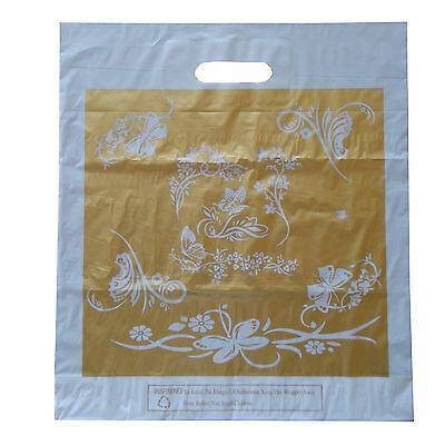 Large 16 *18 *2  Strong Golden Butterly Handle Plastic Carrier Bags • 8.99£