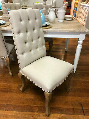 AU312 • Buy Ex-Display Dining Chair French Provincial USA Oak Button Bedroom Chair Linen
