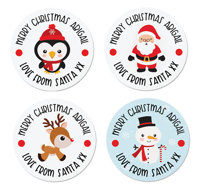 24 Personalised Christmas Labels / Stickers, 5 Designs, Santa, Rudolph, Snowman • 1.99£