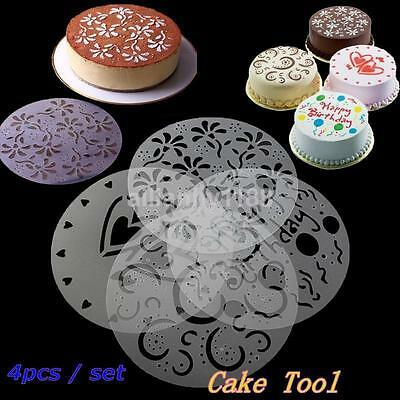 £2.50 • Buy 4X Cake Stencils Birthday Printing Mold Decorating Wedding Party Pastry Tools