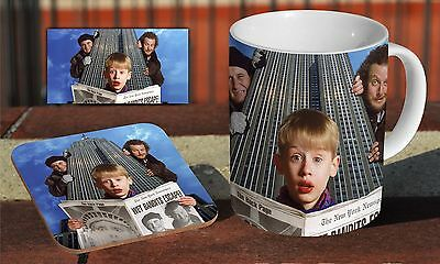 Home Alone Lost In New York 2 Ceramic Coffee MUG + Wooden Coaster Gift Set • 9.90£