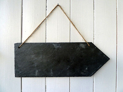 £12.74 • Buy Slate Arrow Sign, Large, Handcut Plaque, Wedding Sign, Party Sign, Garden Sign