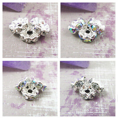 AAA CLEAR & AB RONDELLE SPACER BEADS *4 SIZES* 6mm - 10mm JEWELLERY MAKING UK • 1.59£