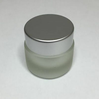 30ml Glass Jar, Frosted Glass Jar With Matt Silver Screw On Lid *ANY AMOUNT* • 13.80£