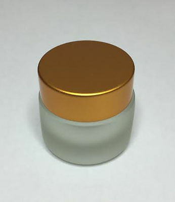 30ml Glass Jar, Frosted Glass Jar With Matt Gold Screw On Lid *ANY AMOUNT* • 1.79£