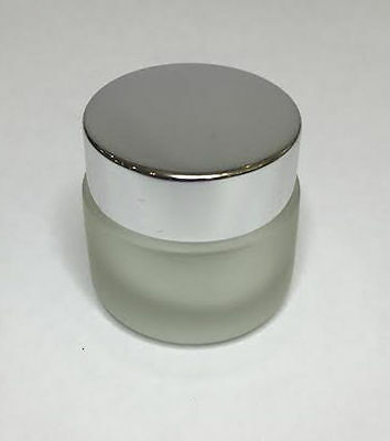 30ml Glass Jar, Frosted Glass Jar With Shiny Silver Screw On Lid *ANY AMOUNT* • 1.79£