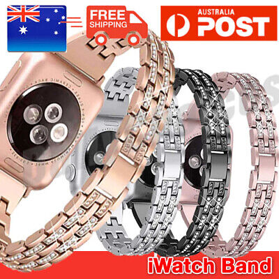 AU13.49 • Buy For Apple Watch Series 6 5 4 3 Bling Stainless Steel Bracelet IWatch Band Strap