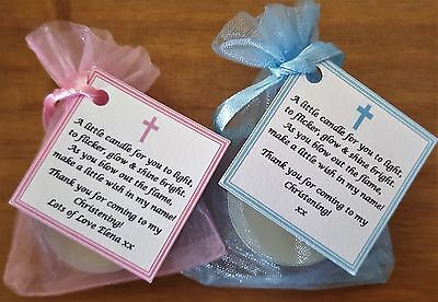 1-150 CHRISTENING / BAPTISM FAVOURS Vanilla Candle Tealights - Personalised Name • 13.95£