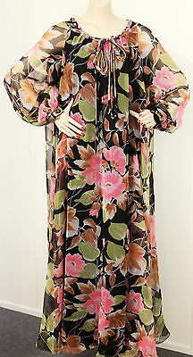 AU73 • Buy Vintage 70s Maxi Dress Pink Black Floral Sz 12 14 B40 W40 H44 Retro Clothing