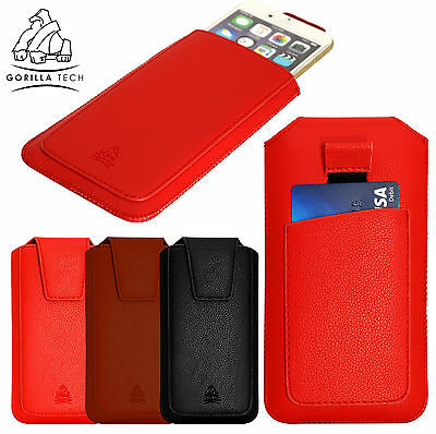 Protective Leather Pouch Beautiful Case With Pull Strap And Card Slot For Phones • 4.65£