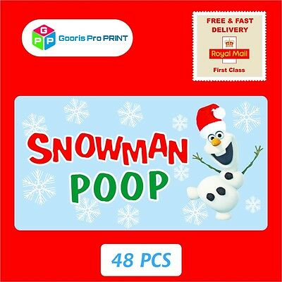 48x Christmas SNOWMAN POOP Sticker Business Xmas Label Fun Seal Gift Tag   X50 • 1.99£