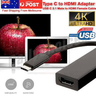 AU9.25 • Buy 4K Type C To HDMI Adapter 30Hz USB C 3.1 Male To HDMI Female Cable