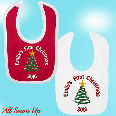 £6.99 • Buy Personalised First Christmas Bib With Any Name.  Embroidered Gift And Keepsake