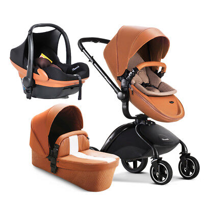 $599 • Buy Baby Stroller 3 In 1 Infant High Landscape Pushchair PU With Bassinets Car Seat