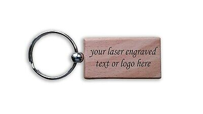 Wooden Laser Engraved  Personalised Gift Hotel Key Fob • 2.95£