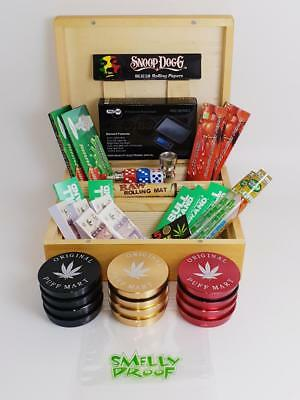 Deluxe Gift Set Mk2 Large Wooden Smokers Smoking Rolling Box Grinder • 30£